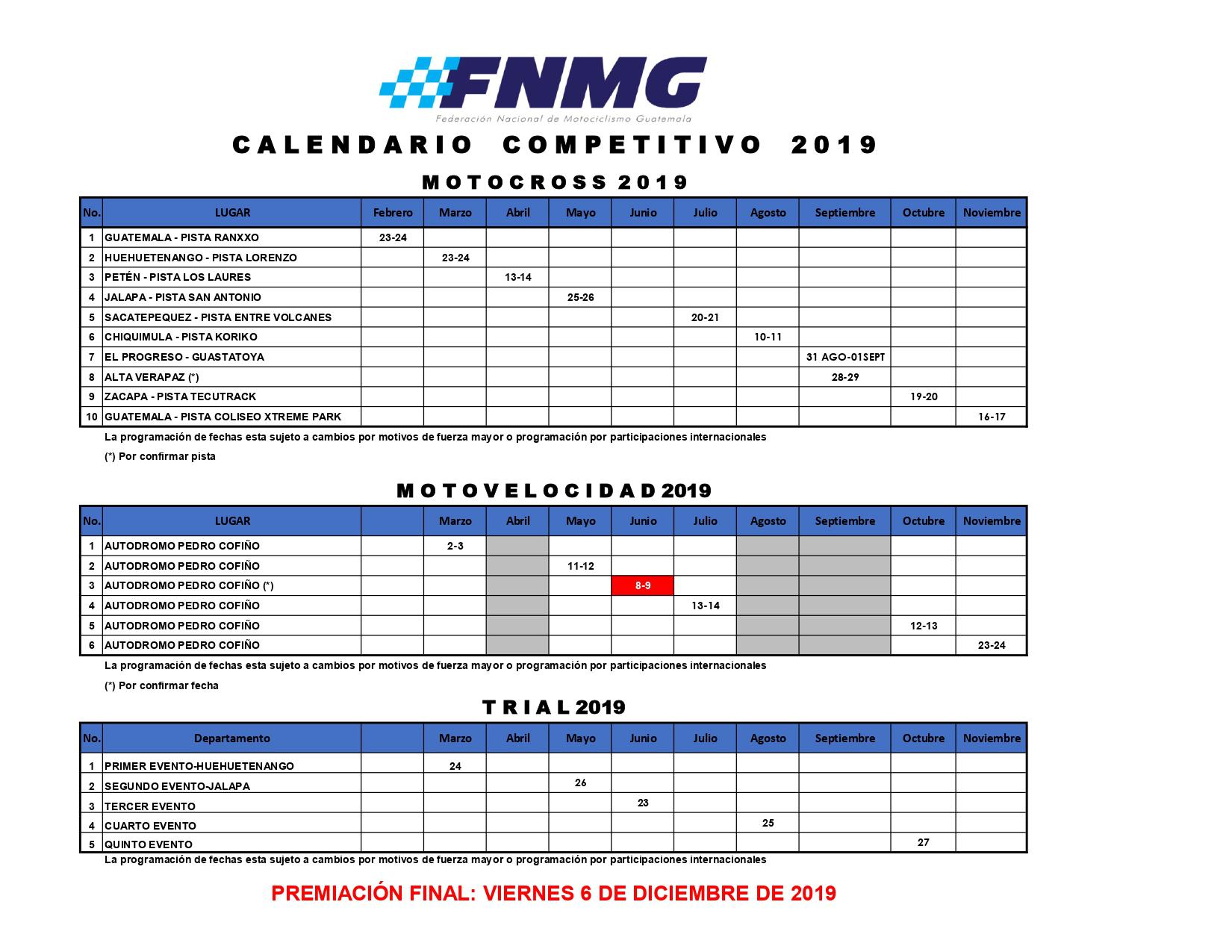 Calendario Autodromo Pedro Cofino 2019.Calendario General Fnmg