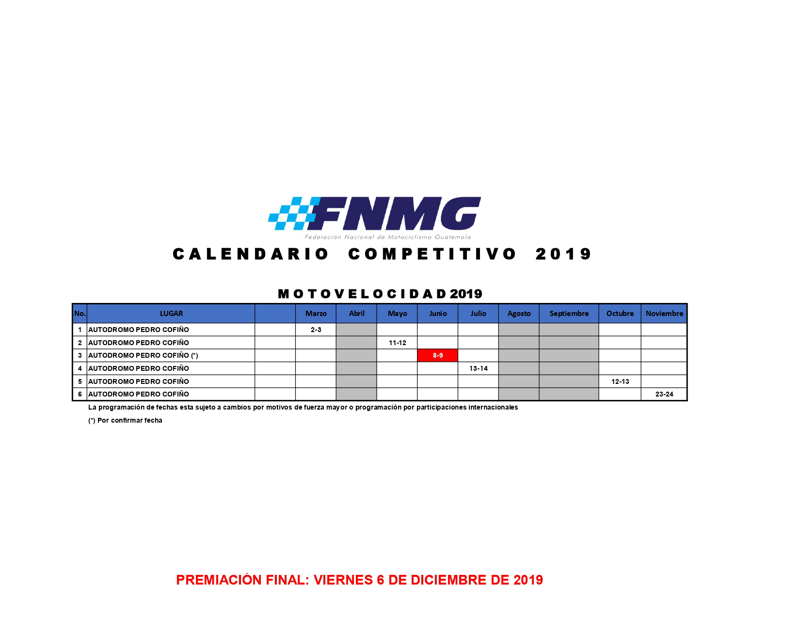Calendario Autodromo Pedro Cofino 2019.Calendario Motovelocidad Fnmg